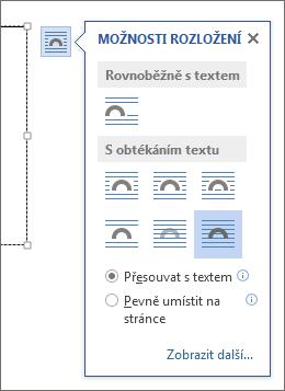 Možnosti rozložení textového pole