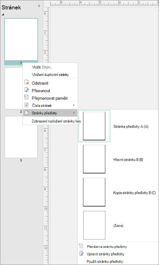 Snímek obrazovky se zobrazí místní nabídce vybranou možností pro stránky předlohy se dostupné možnosti stránky předlohy.