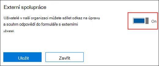 Nastavení spolupráci Microsoft Forms