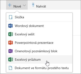 Nabídka Nový, příkaz průzkumu v Excelu