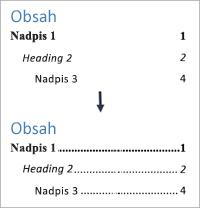 Zobrazuje přidání tečkovaných linek před čísla stránek v obsahu.