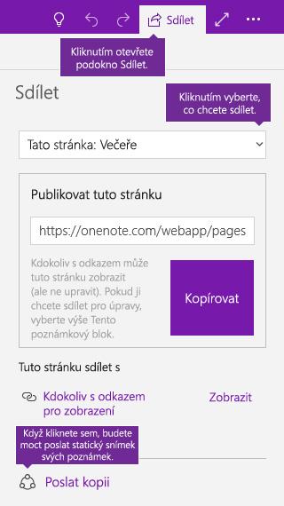 Snímek obrazovky s postupem odeslání kopie poznámek z OneNotu