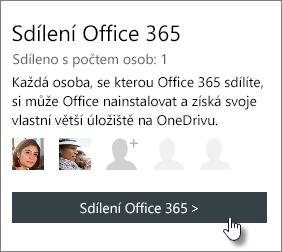 Snímek obrazovky s částí Sdílení Office 365 na stránce Můj účet, kde je vidět, že je předplatné sdílené s jedním uživatelem