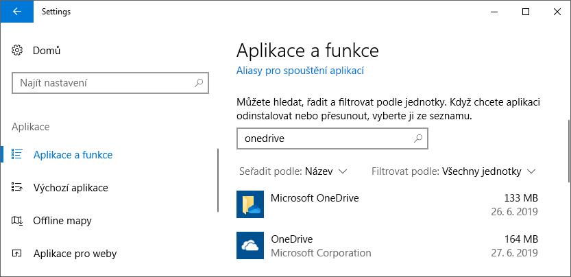 OneDrive v nastavení aplikace pro Windows