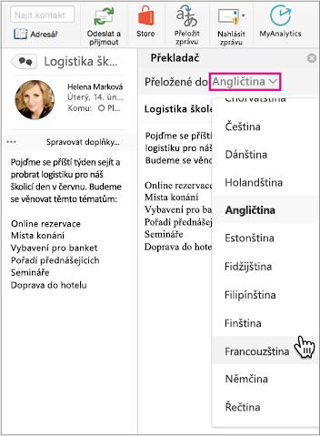 Pomocí rozevíracího seznamu vyberte jazyk, do kterého budete přeložení e zprávy