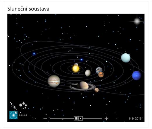 Mapa sluneční soustavy v Bingu