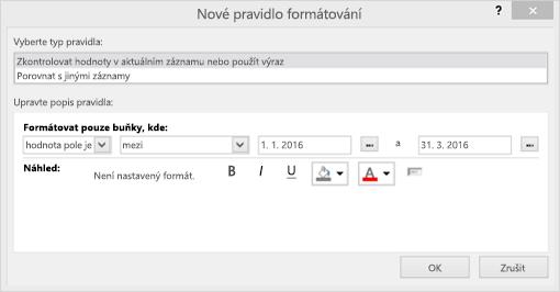 Snímek obrazovky s rozhraní nové pravidlo formátování