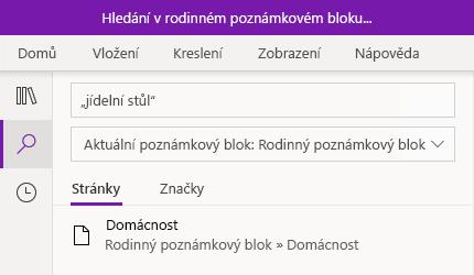 Vyhledávání frází ve OneNotu pro Windows 10