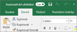 Záhlaví v Excel ukazující přepínač automatického ukládání