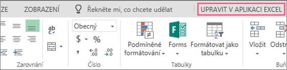 Tlačítko Upravit v aplikaci Excel