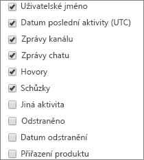 Sestava Aktivity uživatelů Microsoft Teams – výběr sloupců