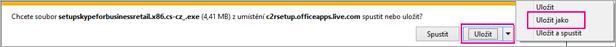 Pokud chcete uložit aplikaci do počítače, zvolte Uložit jako.