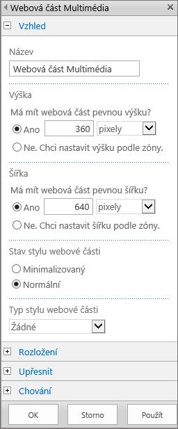 Snímek obrazovky s dialogovým oknem Webová část Multimédia v SharePointu Online. Zadejte nastavení týkající se Vzhledu, Rozložení, Rozšířených možností a Chování multimediálních souborů. Zobrazené jsou možnosti týkající se Vzhledu, včetně názvu, výšky, šířky, stavu stylu webové části a typu.