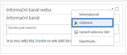 Odstranění webové části