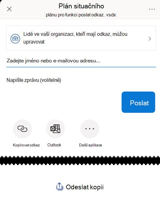 Pomocí možností v části Odeslat odkaz můžete sdílet diagram s dalšími lidmi.