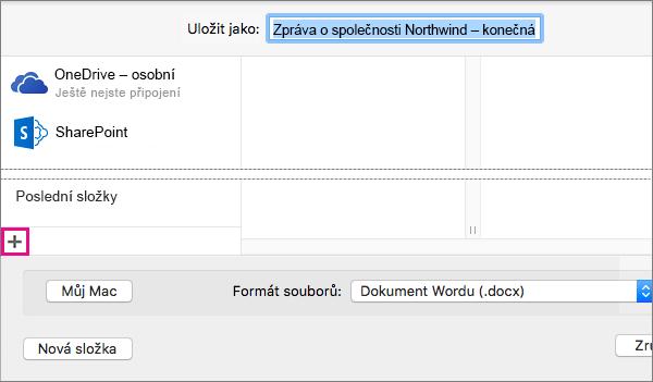 Online službu přidáte kliknutím na znaménko plus v dolní části levého sloupce v dialogovém okně Uložit jako.