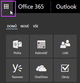 Spouštěč aplikací Office 365 s dlaždicemi Pošta, Kalendář, Lidé, Yammer, a OneDrive