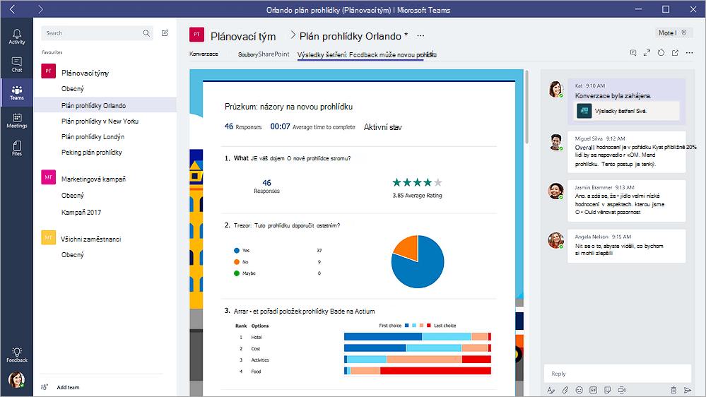 """Kartu formuláře v aplikaci Microsoft Teams zobrazující formuláře v režimu """"Výsledky"""""""
