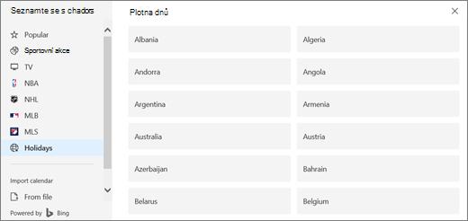 Snímek obrazovky zobrazuje možnost svátků v kalendářích zjišťování.