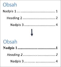 Zobrazuje vzhled před formátováním stylů textu v obsahu a po něm.