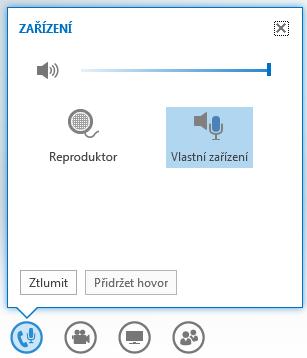 Snímek obrazovky s možnostmi, které se zobrazí při umístění myši na tlačítko zvuku