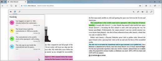 Čtení digitální učebnice v Edgi