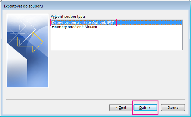 Vyberte Datový soubor Outlooku (.pst) a zvolte Další.
