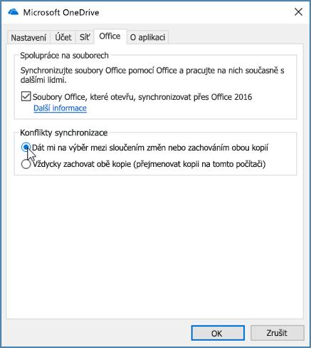 Karta Office dialogovém okně Nastavení synchronizace