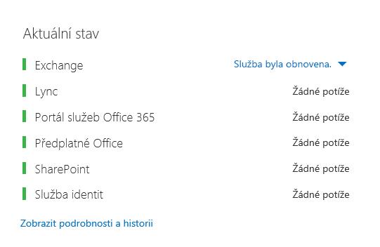 Řídicí panel stavu Office 365 se všechny úlohami zobrazenými zeleně, s výjimkou Exchange, který ukazuje Služba obnovena.