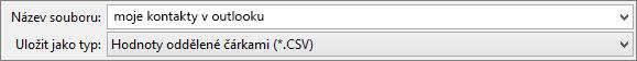 Uložení adresáře kontaktů jako souboru CSV
