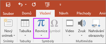 Zobrazuje tlačítko pro vložení rovnic na pásu karet v PowerPointu.