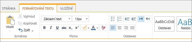 Karta formátování textu seznamy