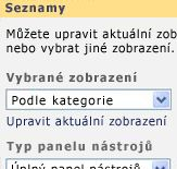 Podokno nástrojů webové části Seznam s vybraným zobrazením podle kategorií.
