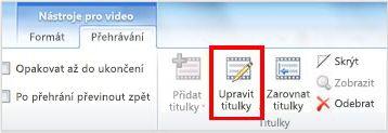 Karta Nástroje pro video – Přehrávání se zvýrazněným tlačítkem Edit Captions (Upravit titulky)