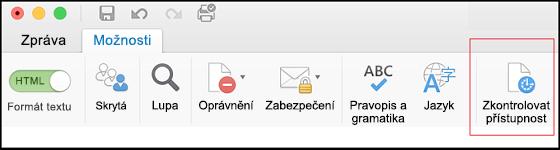 Snímek obrazovky s uživatelským rozhraním Outlooku a volbou Kontrola přístupnosti