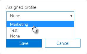 Výběr přiřazeného profilu na panelu zařízení, aby bylo možné ho použít