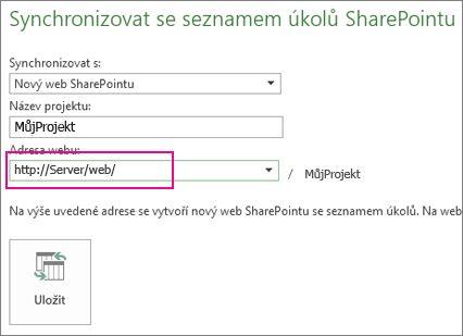 Obrázek Synchronizovat s novým sharepointovým webem