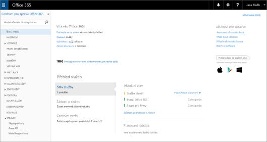 Příklad, jak vypadá Centrum pro správu Office 365, když máte plán Online Skypu pro firmy
