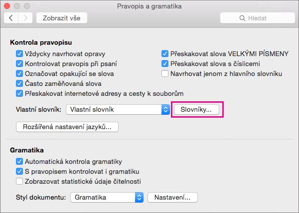 V pravopis a gramatika klikněte na tlačítko slovníky vyberte které vlastní slovníky Word používá při kontrole pravopisu.