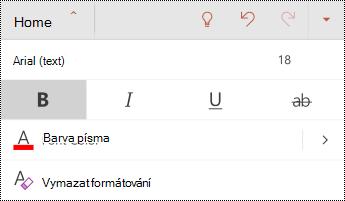 Nabídka písmo v PowerPointu pro Android
