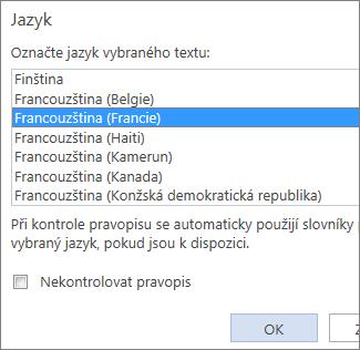 Obrázek seznamu Nastavit jazyk kontroly pravopisu ve Word Web Appu