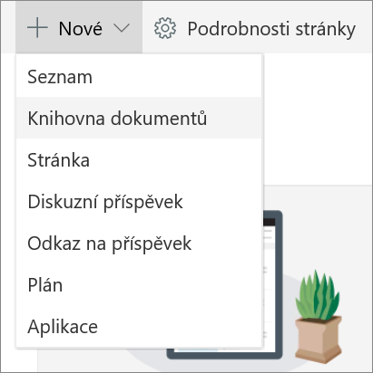 Přidat seznam nebo knihovnu v SPO