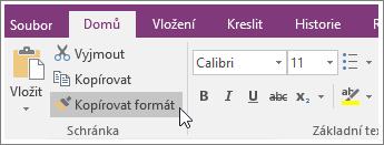 Snímek obrazovky s tlačítkem Kopírovat formát ve OneNotu 2016