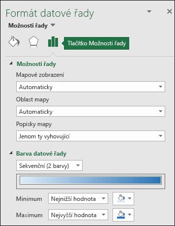 Možnosti řady v podokně Formát objektu u mapového grafu v Excelu