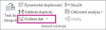 Tlačítko Ověření dat na kartě Data