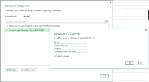 Vylepšení nastavení zdroje dat v Power BI v Excelu