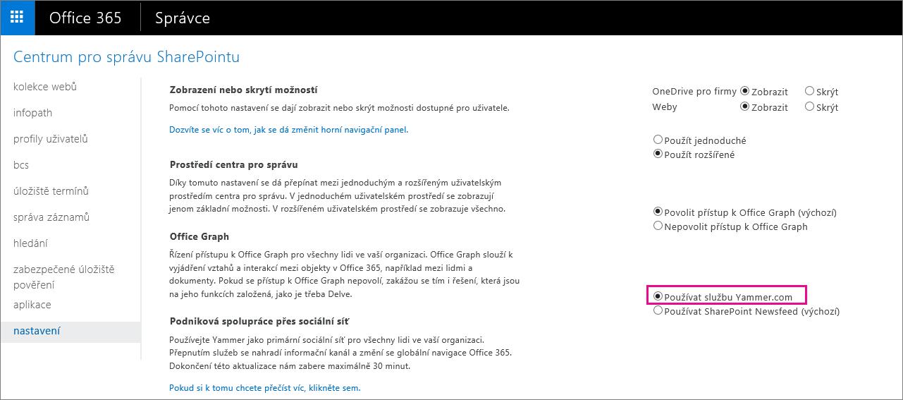 Centrum pro správu SharePointu zobrazující nastavení služby Yammer.com uživatele