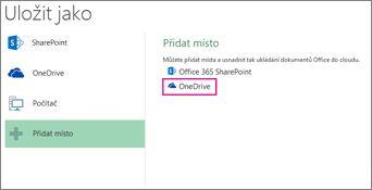 Možnost uložení na OneDrive
