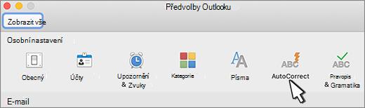 Tlačítko Automatické opravy Outlooku pro Mac