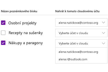 Nahrávání poznámkových bloků na cloudový účet